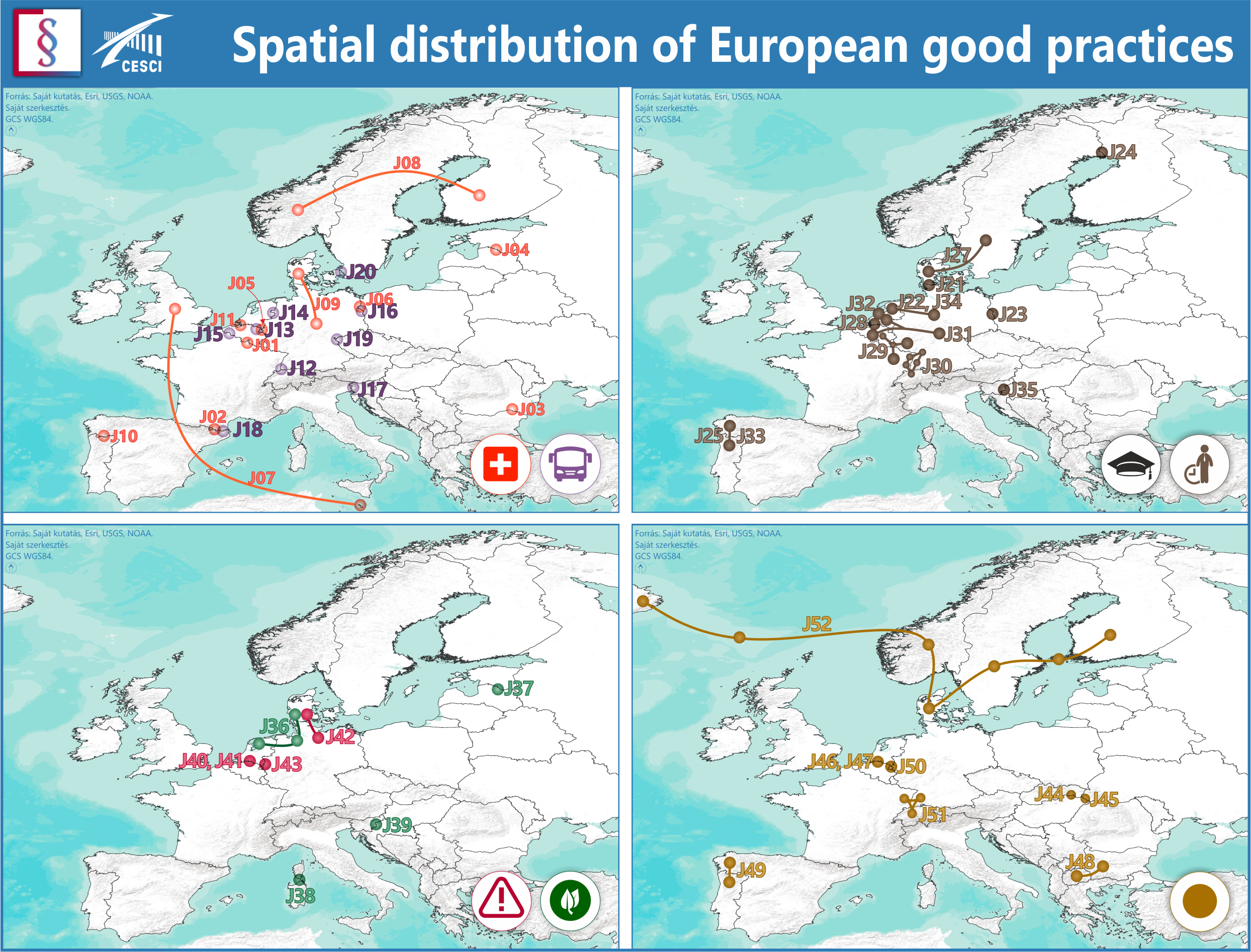Spatial distribution of European good practices