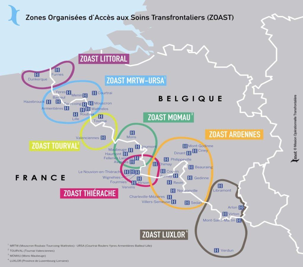 A francia-belga határ mentén működő ellátási körzetek (ZOAST)